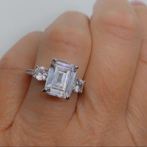 Diamond CZ and White Sapphire Sterling Silver Ring